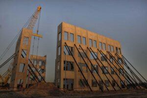 Construction site of a concrete commercial building.