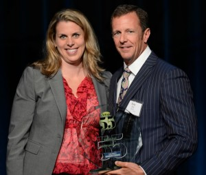 Strauss Troy Attorney Mary Beth Stevenson Presents BioRx CEO Eric Hill With 2014 #Fast55 Awardcrop