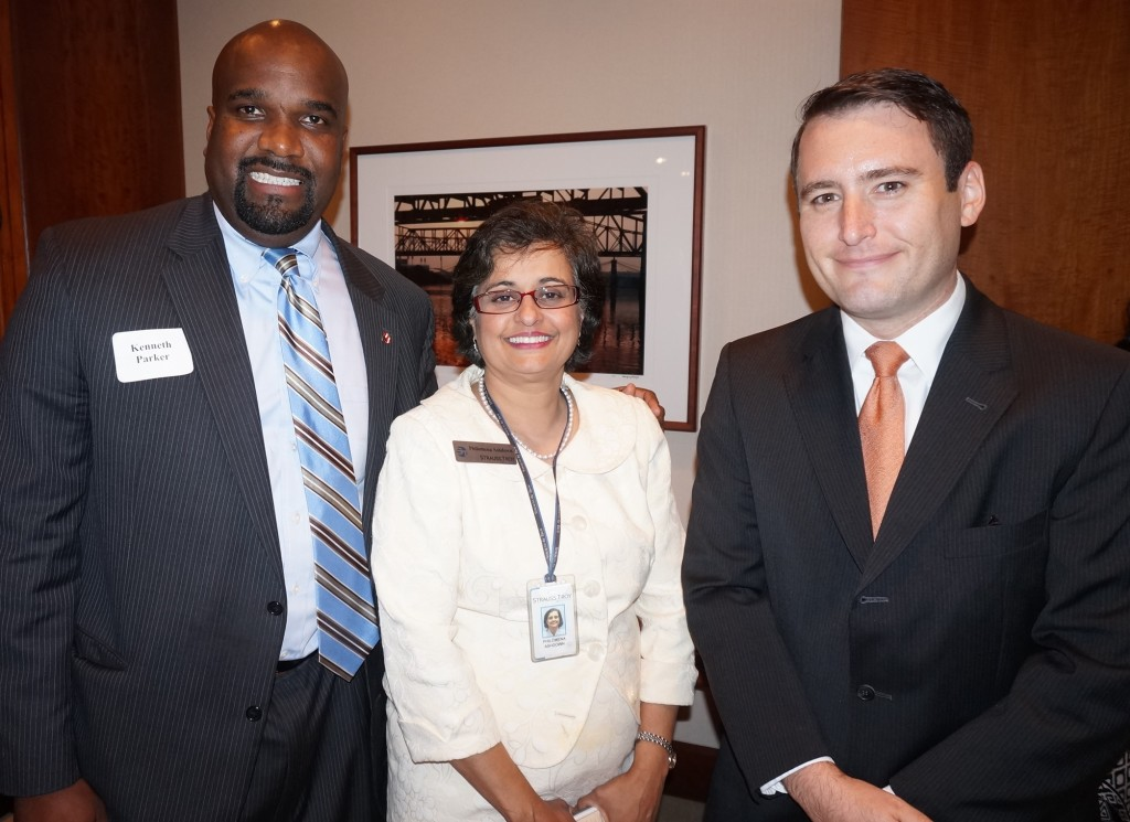 Former SWEL Student, Assistant U.S. Attorney Kenneth Parker (l) With Strauss Troy Attorneys Philomena Ashdown And Kris Brandenburg At SWEL Opening Reception