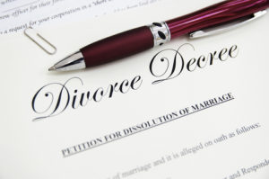 Image of a Divorce Decree with a Pen.