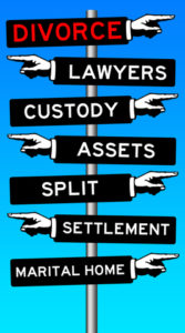 Signpost with Divorce, Custody, Split, Marital Home signs pointing right; Lawyers, Assets, and Settlement signs pointing left.