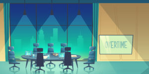 Vector overtime concept - conference hall for business seminar at night, working process in dark evening. Room in skyscraper, urban view from window. Teamwork space in cartoon space.