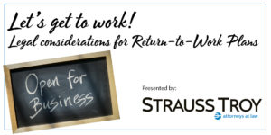 "Image with webinar title, Strauss Troy logo, and a small blackboard with ""open for business"" written in chall"